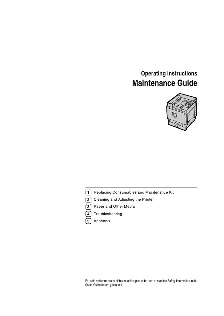 Operating Instructions                                        Maintenance Guide      1     Replacing Consumables and Maint...