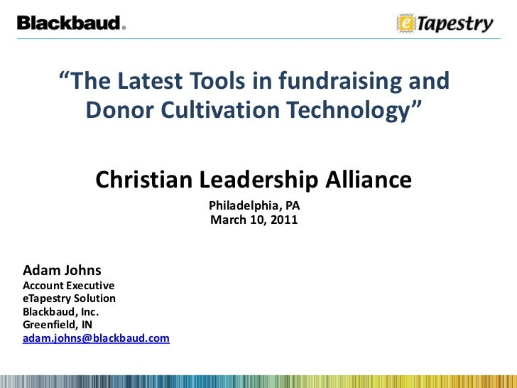 """The Latest Tools in fundraising and Donor Cultivation Technology""<br />Christian Leadership Alliance<br />Philadelphia, P..."