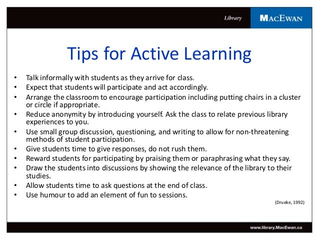 active learning techniques In this lesson, we will look at some characteristics of adult learners and the strategies recommended for providing adult students with an active learning approach.