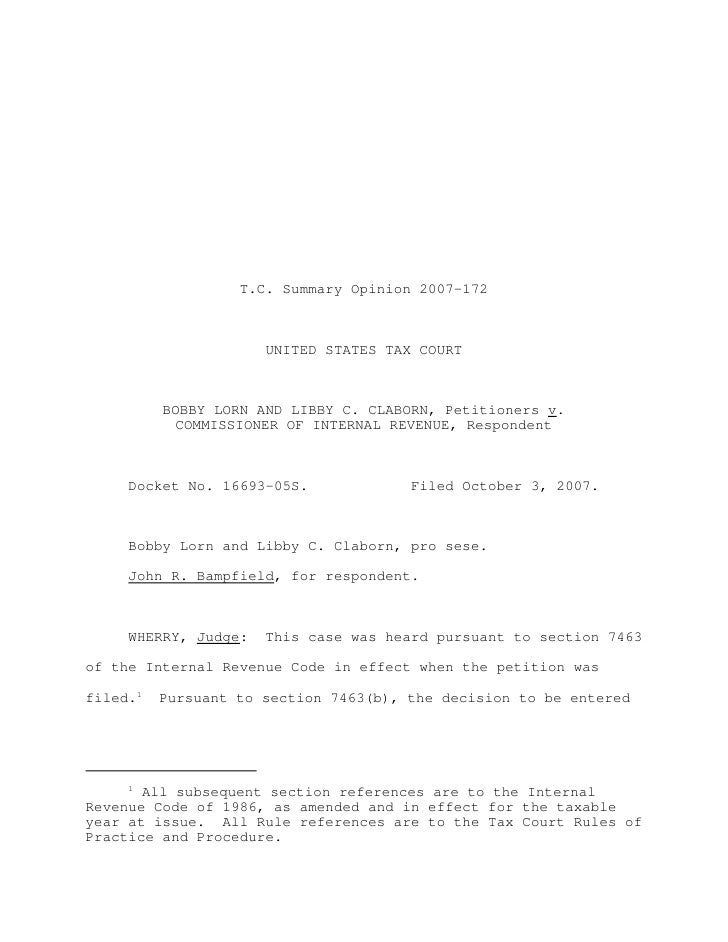 T.C. Summary Opinion 2007-172                      UNITED STATES TAX COURT          BOBBY LORN AND LIBBY C. CLABORN, Petit...