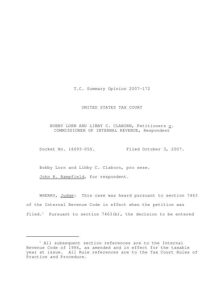 Claborn v. commissioner