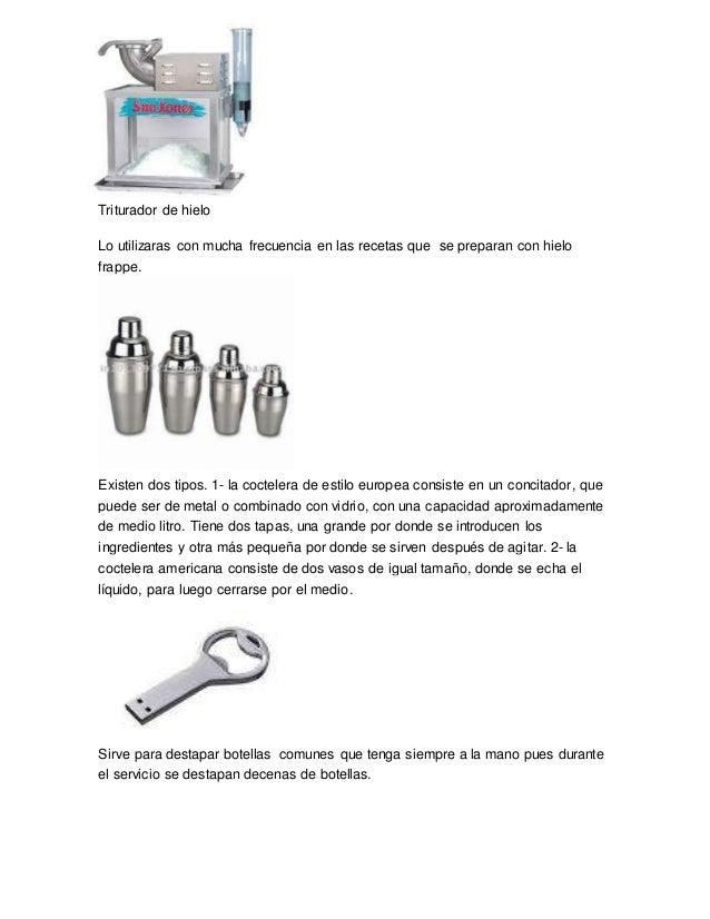 Clacificcion de cristaleria completo for Utensilios de cocina y sus funciones pdf