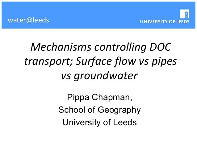 water@leeds      Mechanisms controlling DOC    transport; Surface flow vs pipes           vs groundwater                Pi...