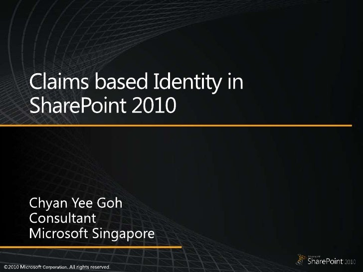 Claims  Based  Identity In  Share Point 2010