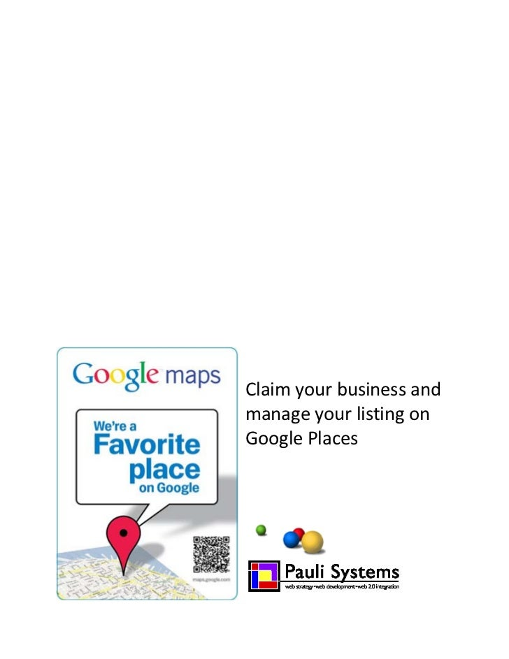 Claim your business on Google places