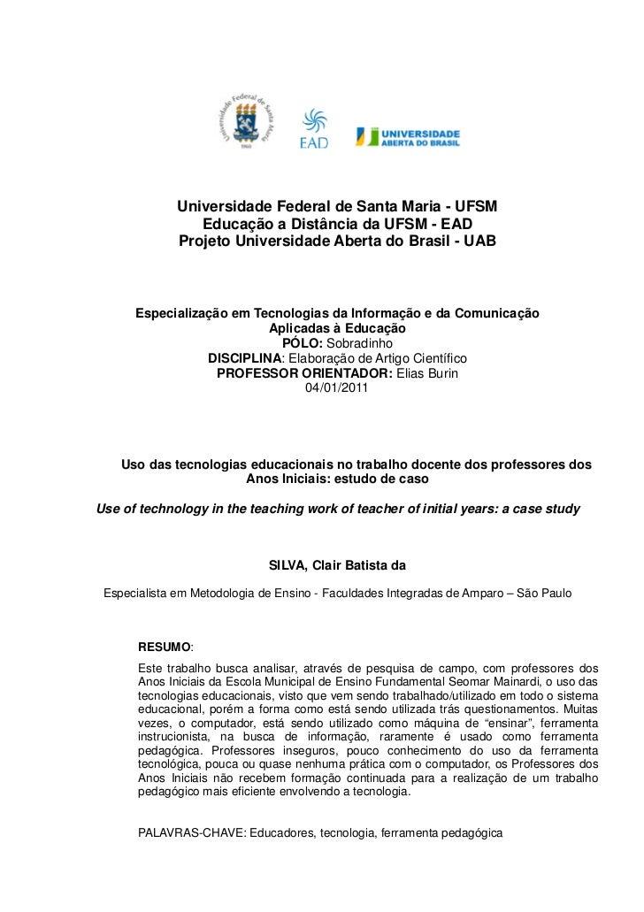 Universidade Federal de Santa Maria - UFSM                 Educação a Distância da UFSM - EAD              Projeto Univers...