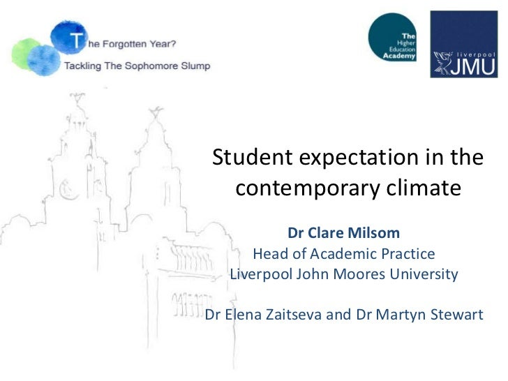 Student expectation in the   contemporary climate           Dr Clare Milsom       Head of Academic Practice   Liverpool Jo...