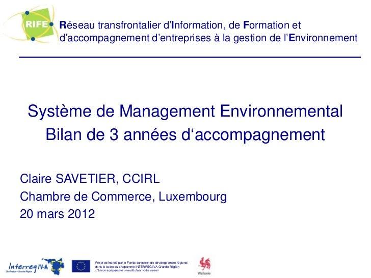 Réseau transfrontalier d'Information, de Formation et     d'accompagnement d'entreprises à la gestion de l'Environnement S...