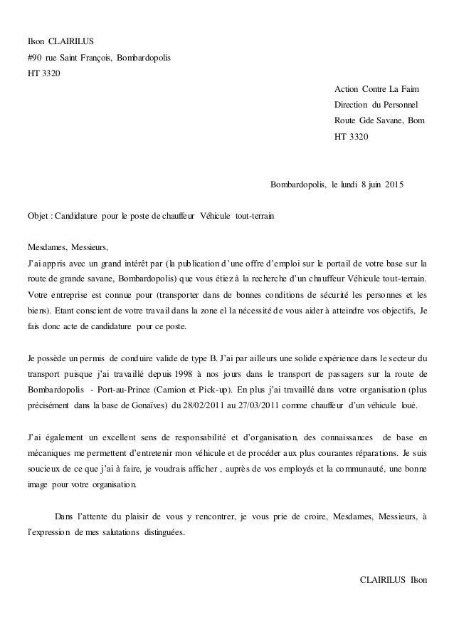 Ilson CLAIRILUS #90 rue Saint François, Bombardopolis HT 3320 Action Contre La Faim Direction du Personnel Route Gde Savan...