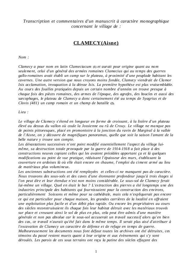 Transcription et commentaires d'un manuscrit à caractère monographique  concernant le village de :  CLAMECY(Aisne)  Nom : ...