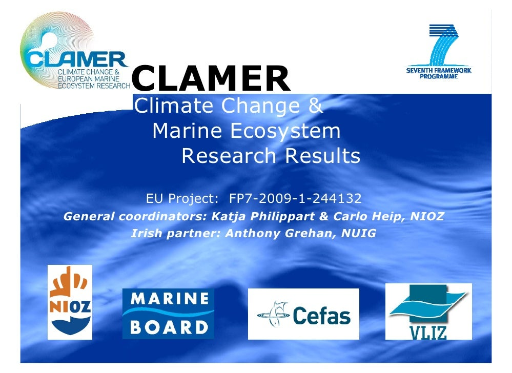 CLAMER: Climate Change and Marine Ecosystem Research Results