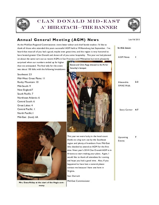 Clan Donald Mid-east A' Bhratach—The Banner A n nu a l G e n e r a l M e e t i n g ( AG M ) N ew s  Late Fall 2013  As the...