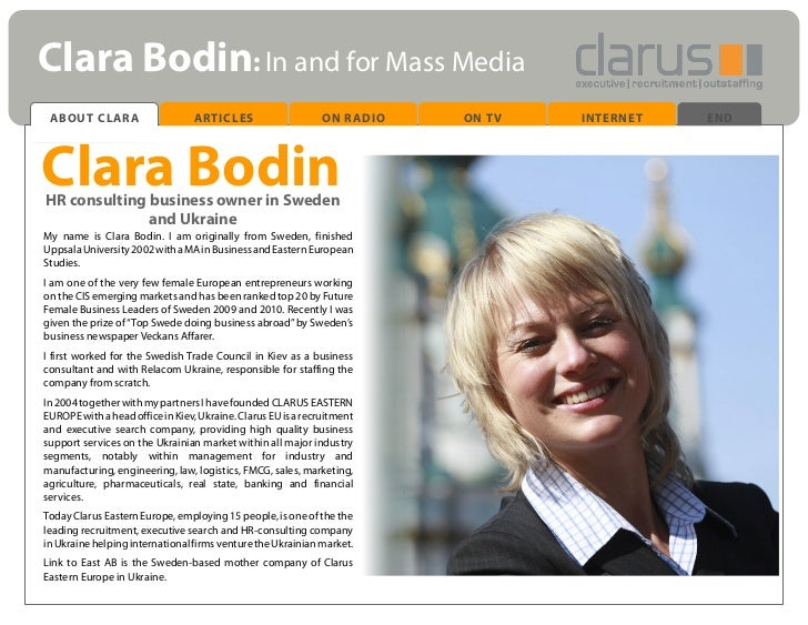 Clara Bodin: In and for Mass Media ABOUT CLARA                      ARTICLES                    ON RADIO   ON TV   INTERNE...