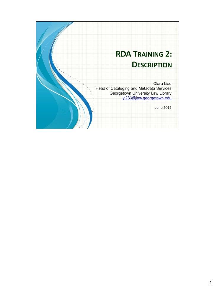 Clara RDA Training 2
