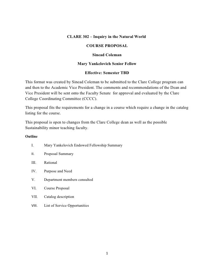 CLARE 302 – Inquiry in the Natural World                                      COURSE PROPOSAL                             ...