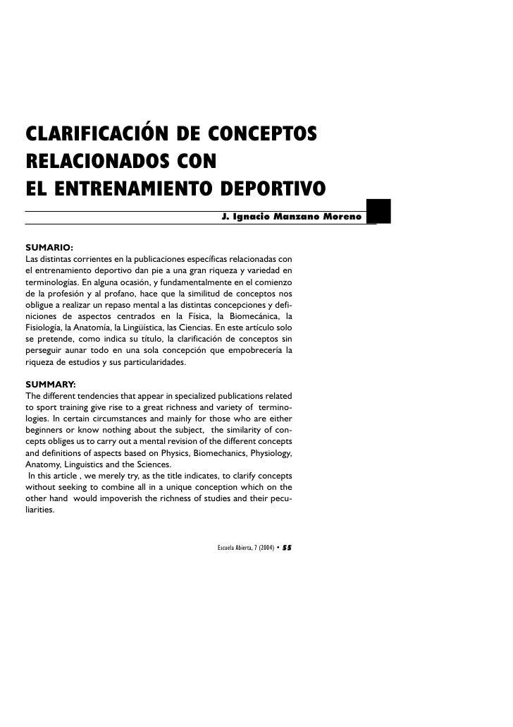 CLARIFICACIÓN DE CONCEPTOS RELACIONADOS CON EL ENTRENAMIENTO DEPORTIVO                                                    ...