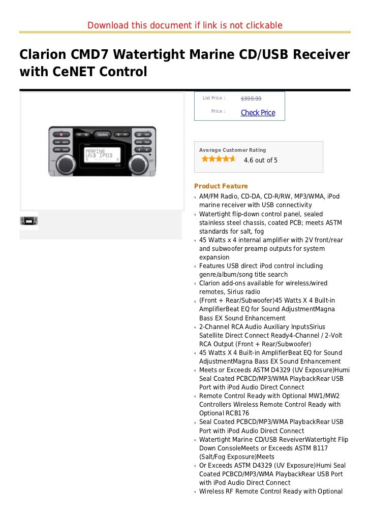 Download this document if link is not clickableClarion CMD7 Watertight Marine CD/USB Receiverwith CeNET Control           ...