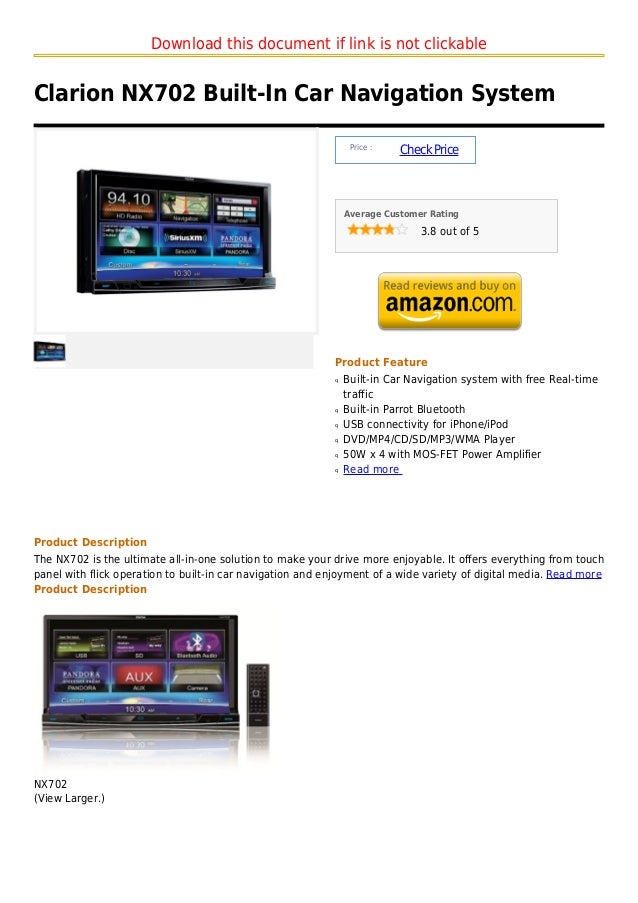 Download this document if link is not clickableClarion NX702 Built-In Car Navigation System                               ...