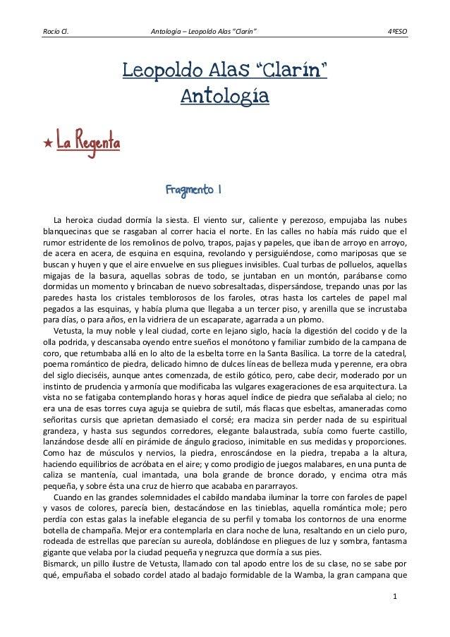 """Rocío Cl. Antología – Leopoldo Alas """"Clarín"""" 4ºESO 1 Leopoldo Alas """"Clarín"""" Antología  La Regenta Fragmento 1 La heroica ..."""