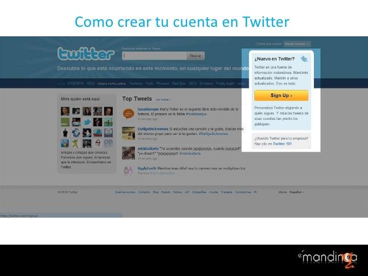 Como creartucuenta en Twitter <br />
