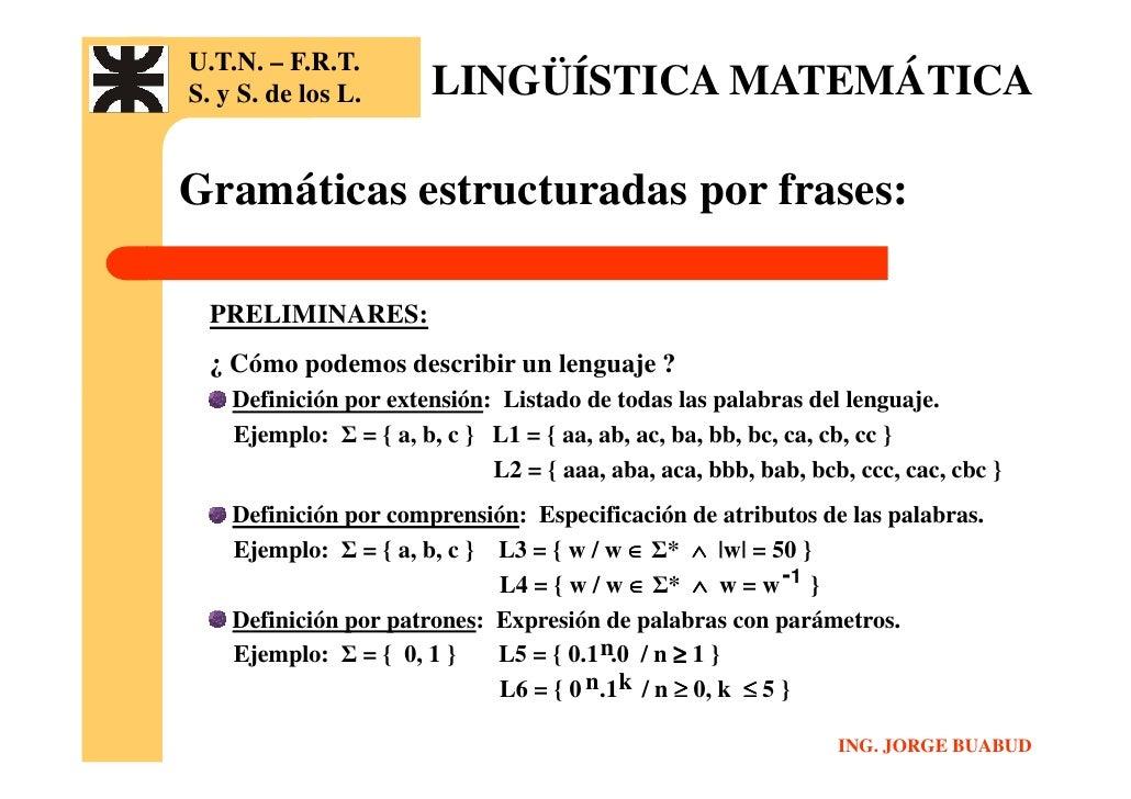 Lingüística Matemática Clase 2