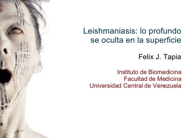 Leishmaniasis: lo profundo se oculta en la superficie Felix J. Tapia Instituto de Biomedicina Facultad de Medicina Univers...
