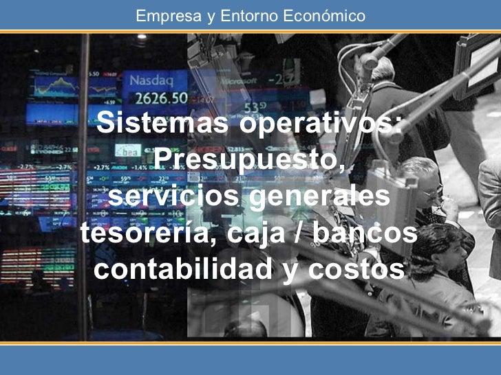 Sistemas operativos: Presupuesto, servicios generales tesorería, caja / bancos contabilidad y costos
