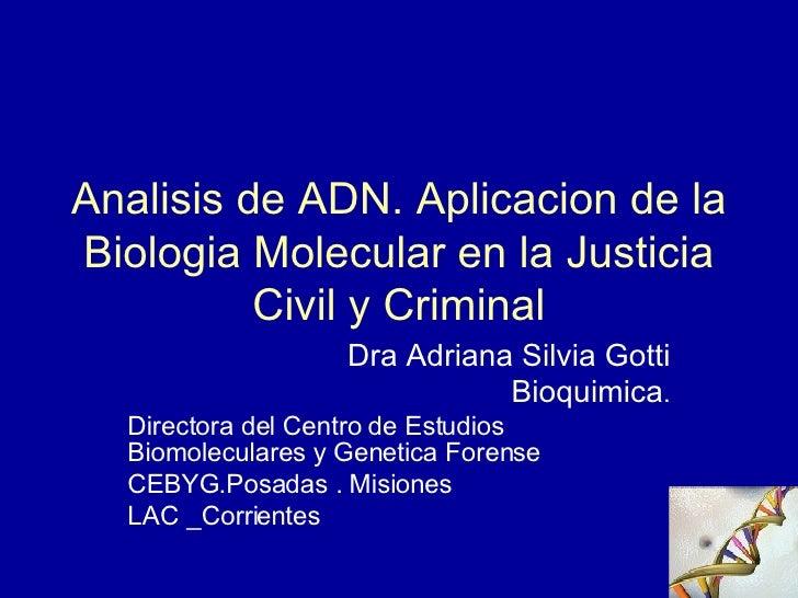 Analisis de ADN. Aplicacion de la Biologia Molecular en la Justicia Civil y Criminal Dra Adriana Silvia Gotti Bioquimica ....