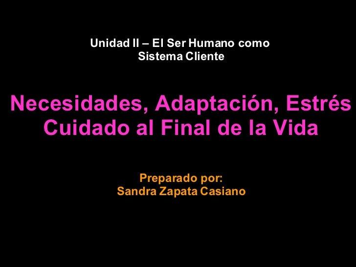 Unidad II – El Ser Humano como  Sistema Cliente Necesidades, Adaptación, Estrés Cuidado al Final de la Vida Copyright: San...