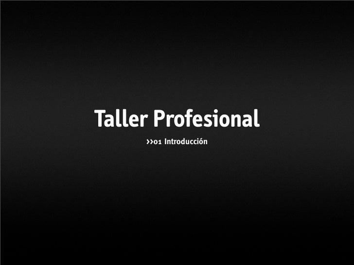 Taller Profesional      >>01 Introducción