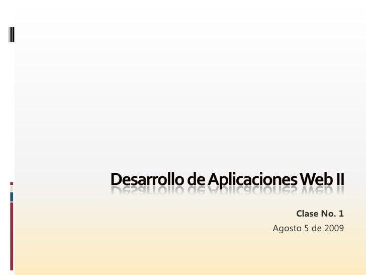 Desarrollo de Aplicaciones Web II - Sesión 01 - Introducción