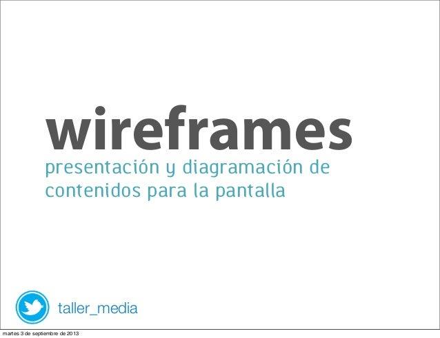 presentación y diagramación de contenidos para la pantalla wireframes taller_media martes 3 de septiembre de 2013