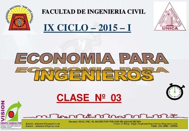 FACULTAD DE INGENIERIA CIVIL IX CICLO – 2015 – I CLASE Nº 03 Docente: MAG. ING. M. HAMILTON WILSON HUAMANCHUMO Email: mham...
