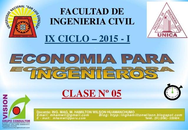 FACULTAD DE INGENIERIA CIVIL IX CICLO – 2015 - I CLASE Nº 05 Docente: ING. MAG. M. HAMILTON WILSON HUAMANCHUMO Email: mham...