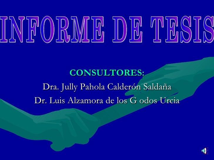 <ul><li>CONSULTORES: </li></ul><ul><li>Dra. Jully Pahola Calderón Saldaña </li></ul><ul><li>Dr. Luis Alzamora de los G odo...