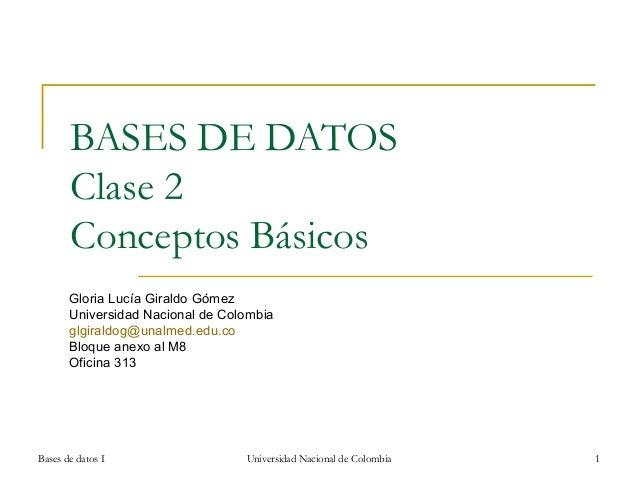BASES DE DATOS Clase 2 Conceptos Básicos Gloria Lucía Giraldo Gómez Universidad Nacional de Colombia glgiraldog@unalmed.ed...