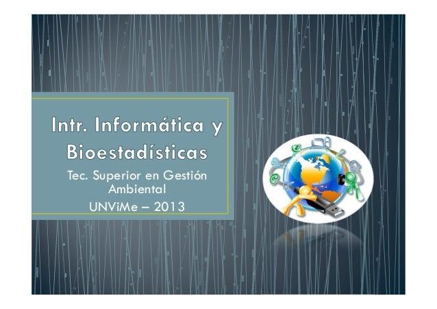 Tec. Superior en Gestión Ambiental UNViMe – 2013