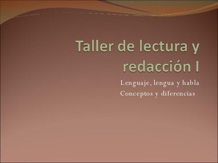 Lenguaje, lengua y habla Conceptos y diferencias