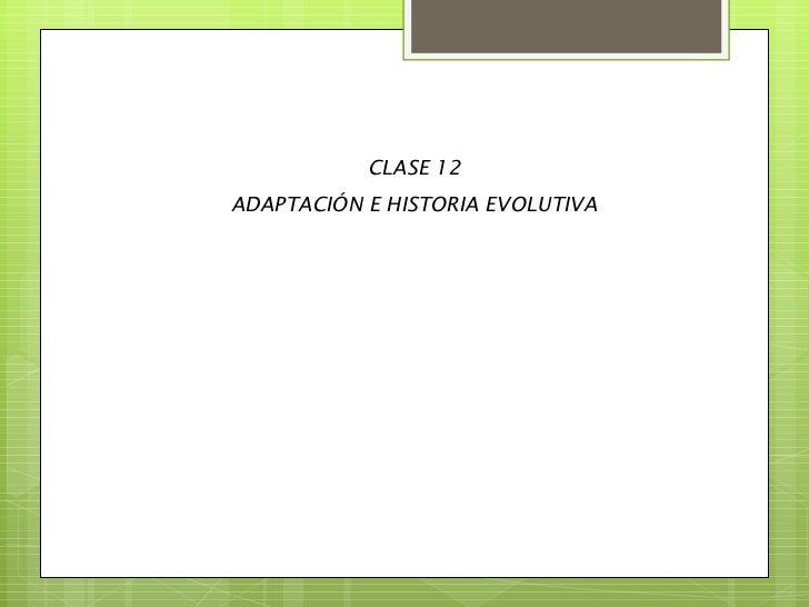 CLASE 12 ADAPTACIÓN E HISTORIA EVOLUTIVA