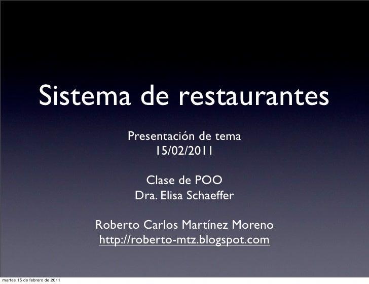 Sistema de restaurantes                                    Presentación de tema                                         15...