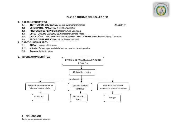PLAN DE TRABAJO SIMULTÁNEO N° 791. DATOS INFORMATIVOS:   1.1. INSTITUCIÓN EDUCATIVA: Escuela Zamora Chinchipe             ...