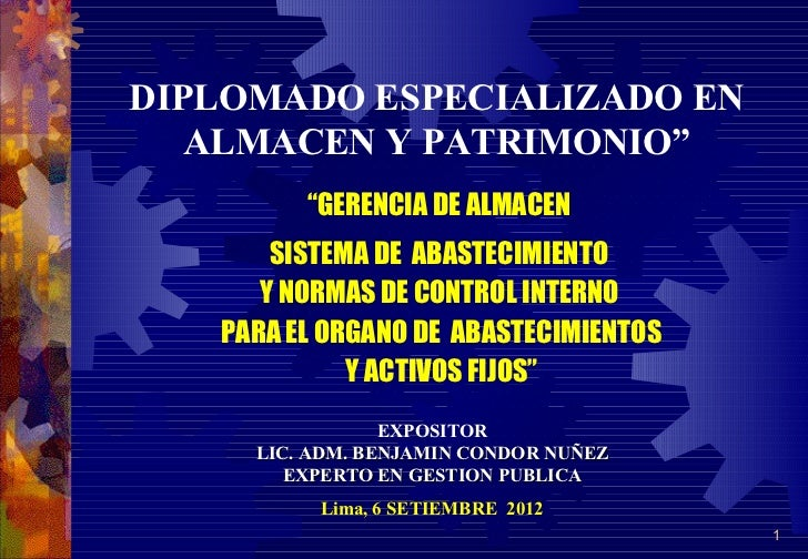 """DIPLOMADO ESPECIALIZADO EN   ALMACEN Y PATRIMONIO""""         """"GERENCIA DE ALMACEN       SISTEMA DE ABASTECIMIENTO      Y NOR..."""
