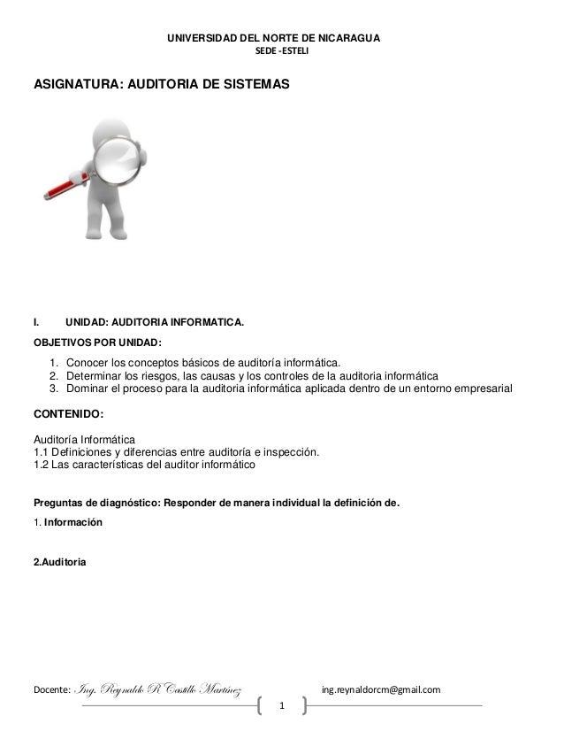 UNIVERSIDAD DEL NORTE DE NICARAGUA SEDE -ESTELI Docente: Ing. Reynaldo R Castillo Martínez ing.reynaldorcm@gmail.com 1 ASI...