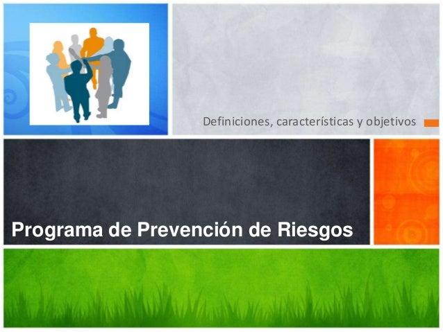 Definiciones, características y objetivos  Programa de Prevención de Riesgos