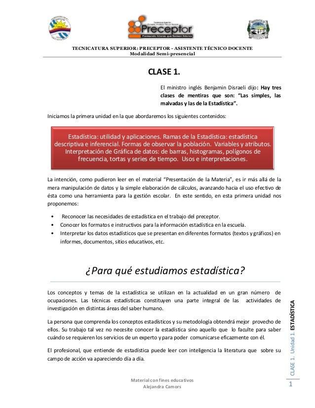 TECNICATURA SUPERIOR: PRECEPTOR - ASISTENTE TÉCNICO DOCENTE Modalidad Semi-presencial Material con fines educativos Alejan...