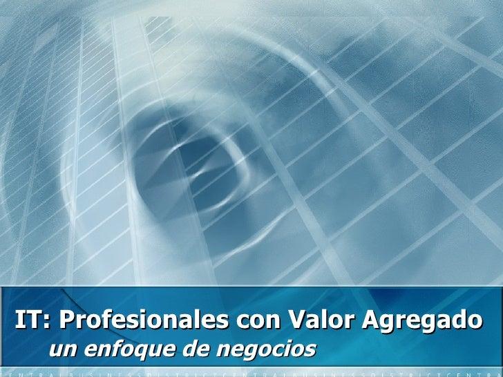 IT: Profesionales con Valor Agregado un enfoque de negocios