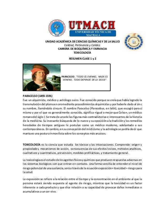 UNIDAD ACADÉMICA DE CIENCIAS QUÍMICAS Y DE LA SALUD Calidad, Pertinencia y Calidez. CARRERA DE BIOQUÍMICA Y FARMACIA TOXIC...