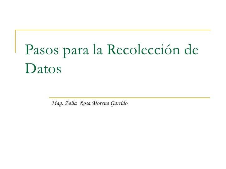 Pasos para la Recolección de Datos Mag. Zoila  Rosa Moreno Garrido