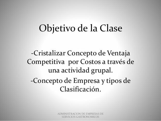 Objetivo de la Clase -Cristalizar Concepto de Ventaja Competitiva por Costos a través de una actividad grupal. -Concepto d...