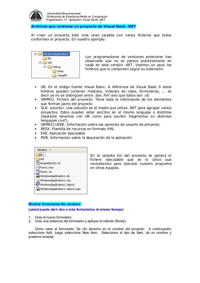 Universidad Mesoamericana Profesorado de Enseñanza Media en Computación Programación IV. Aplicación: Visual Studio .NET 1 ...
